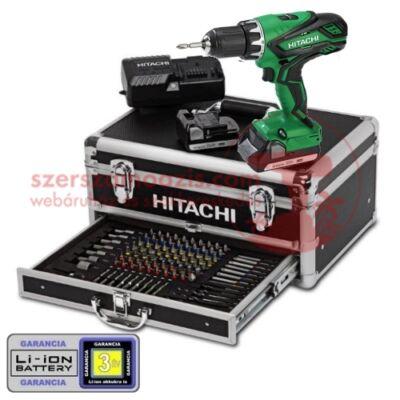 Hitachi DS18DJL-ALU Akkus fúró-csavarbehajtó (18V/2x2.5Ah) 101db-os készlettel alu kofferben