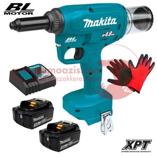 Makita DRV150RFE akkus popszegecshúzó 2,4-4,8mm (18V/2x3.0Ah) + AJÁNDÉK